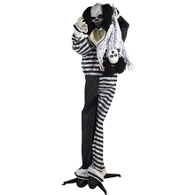 Haunted Hill Farm Life-Size Animatronic Clown, Indoor/Outdoor Halloween Decoration, Flashing Red Eyes, Poseable, Battery-Operated, HHCLOWN-10FLSA