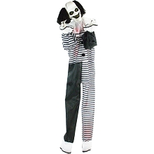 Haunted Hill Farm Life-Size Animatronic Clown, Indoor/Outdoor Halloween Decoration, Red Flashing Eyes, Poseable, Battery-Operated, HHCLOWN-11FLSA