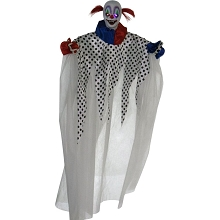 Haunted Hill Farm Life-Size Animatronic Clown, Indoor/Outdoor Halloween Decoration, Light-up Colorful Eyes, Spinning, Battery-Operated, HHCLOWN-14HLSA