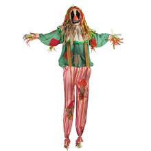 Haunted Hill Farm Life-Size Animatronic Scarecrow Clown, Indoor/Outdoor Halloween Decoration, Flashing Eyes, Poseable, Battery-Operated, HHCLOWN-15FLSA