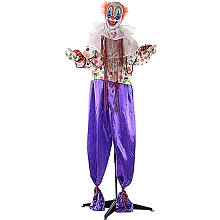 Haunted Hill Farm Life-Size Animated Scary Talking Clown Prop w/ Flashing Red Eyes for Indoor or Outdoor Halloween Decoration, Battery-Operated, HHCLOWN-1FLA