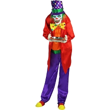 Haunted Hill Farm Life-Size Animatronic Clown, Indoor/Outdoor Halloween Decoration, Flashing Red Eyes, Poseable, Battery-Operated, HHCLOWN-2FLSA