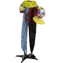 Haunted Hill Farm Life-Size Animatronic Clown, Indoor/Outdoor Halloween Decoration, Flashing Red Eyes, Poseable, Battery-Operated, HHCLOWN-3FLSA