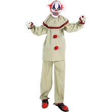 Haunted Hill Farm Life-Size Animatronic Clown, Indoor/Outdoor Halloween Decoration, Red Flashing Eyes, Poseable, Battery-Operated, HHCLOWN-4FLSA