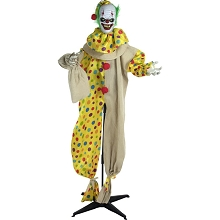 Haunted Hill Farm Life-Size Animatronic Clown, Indoor/Outdoor Halloween Decoration, Flashing Red Eyes, Poseable, Battery-Operated, HHCLOWN-5FLSA
