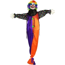 Haunted Hill Farm Life-Size Animatronic Clown, Indoor/Outdoor Halloween Decoration, Flashing Red Eyes, Poseable, Battery-Operated, HHCLOWN-6FLSA