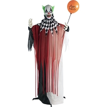 Haunted Hill Farm Life-Size Animatronic Clown, Indoor/Outdoor Halloween Decoration, Flashing Red Eyes, Poseable, Battery-Operated, HHCLOWN-7FLSA