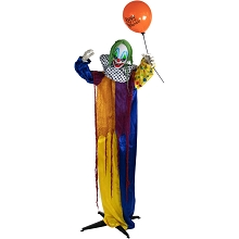 Haunted Hill Farm Life-Size Animatronic Clown, Indoor/Outdoor Halloween Decoration, Flashing Red Eyes, Poseable, Battery-Operated, HHCLOWN-8FLSA