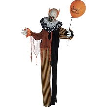 Haunted Hill Farm Life-Size Animatronic Clown, Indoor/Outdoor Halloween Decoration, Red Flashing Eyes, Poseable, Battery-Operated, HHCLOWN-9FLSA