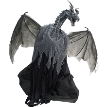 Haunted Hill Farm Animatronic Dragon, Indoor/Outdoor Halloween Decoration, Flashing Red Eyes, Poseable, Moving, Battery-Operated, HHDRGN-1FLSA
