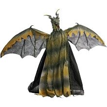 Haunted Hill Farm Animatronic Dragon, Indoor/Outdoor Halloween Decoration, Flashing Red Eyes, Sounds, Battery-Operated, HHDRGN-2FLSA