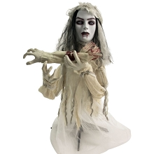 Haunted Hill Farm 31 In. Groundbreaker Animatronic Bride, Indoor/Outdoor Halloween Decoration, Flashing Red Eyes, Battery-Operated, HHFJBRDE-1LSA
