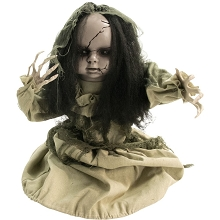 Haunted Hill Farm 33 In. Animotronic Groundbreaker Zombie, Indoor/Outdoor Halloween Decoration, Flashing Red Eyes, Battery-Operated, HHFJGIRL-1LSA