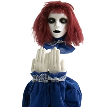 Haunted Hill Farm 27 In. Pop-Up Animatronic Haunted Doll, Indoor/Outdoor Halloween Decoration, Red Flashing Eyes, Noises, Battery-Operated, HHFJGIRL-2LSA