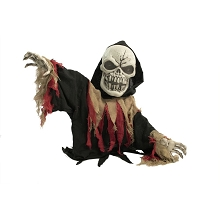 Haunted Hill Farm 39 In. Animatronic Reaper, Indoor/Outdoor Halloween Decoration, Flashing Red Eyes, Poseable, Battery-Operated, HHFJSKEL-1LSA