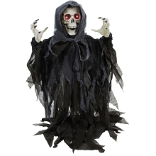 Haunted Hill Farm 46 In. Animatronic Reaper Skeleton, Indoor/Outdoor Halloween Decoration, Flashing Red Eyes, Poseable, Battery-Operated, HHFJSKEL-2LSA