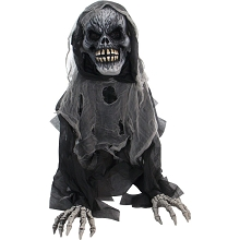 Haunted Hill Farm 27 In. Animatronic Reaper, Indoor/Outdoor Halloween Decoration, Light-up Red Eyes, Talking, Battery-Operated, HHFJSKEL-3LSA