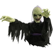 Haunted Hill 20 In. Groundbreaker Animatronic Witch, Indoor/Outdoor Halloween Decoration, Flashing Red Eyes, Battery-Operated, HHFJWTC-L1SA