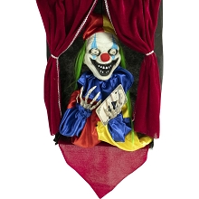 Haunted Hill Farm Animatronic Clown, Indoor/Outdoor Halloween Decoration, Flashing Red Eyes, Talking, Battery-Operated, HHFTCL-1HLSA