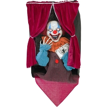 Haunted Hill Farm Animatronic Clown, Indoor/Outdoor Halloween Decoration, Flashing Red Eyes, Talking, Battery-Operated, HHFTCL-2HLSA
