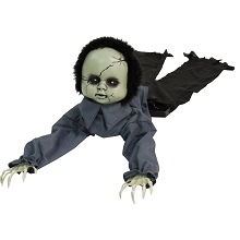 Haunted Hill Farm 43 In. Animatronic Doll, Indoor/Outdoor Halloween Decoration, Light-up Blue Eyes, Crawling, Battery-Operated, HHGBBOY-1LSA