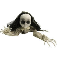 Haunted Hill Farm 36 In. Animatronic Doll, Indoor/Outdoor Halloween Decoration, Flashing Red Eyes, Crawling, Battery-Operated, HHGBGIRL-1LSA