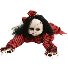 Haunted Hill Farm 44 In. Animatronic Doll, Indoor/Outdoor Halloween Decoration, Light-up Blue Eyes, Crawling, Battery-Operated, HHGBGIRL-2LSA