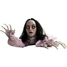 Haunted Hill Farm 63 In. Animatronic Crawler, Indoor/Outdoor Halloween Decoration, Flashing Red Eyes, Crawling, Battery-Operated, HHGBLADY-1LSA