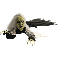 Haunted Hill Farm 63 In. Animatronic Witch, Indoor/Outdoor Halloween Decoration, Flashing Red Eyes, Crawling, Battery-Operated, HHGBZOMB-1LSA