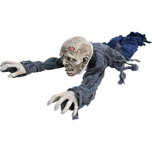 Haunted Hill Farm 62 In. Animatronic Zombie, Indoor/Outdoor Halloween Decoration, Flashing Red Eyes, Poseable, Battery-Operated, HHGBZOMB-2LSA