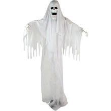Haunted Hill Farm Life Size Animatronic Reaper, Indoor/Outdoor Halloween Decoration, Flashing White Eyes, Poseable, Battery-Operated, HHGHST-2FLS