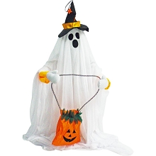 Haunted Hill Farm 35 In. Groundbreaker Animatronic Ghost, Indoor/Outdoor Halloween Decoration, Flashing Red Face, Battery-Operated, HHGHST-2FLSA