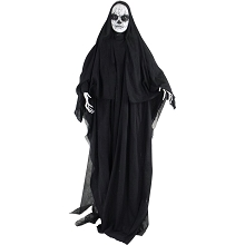 Haunted Hill Farm Life Size Animatronic Reaper, Indoor/Outdoor Halloween Decoration, Multi-Colored Face, Poseable, Battery-Operated, HHLADY-1FLSA