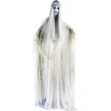 Haunted Hill Farm Life-Size Animatronic Bride, Indoor/Outdoor Halloween Decoration, Flashing Red Eyes, Poseable, Battery-Operated, HHLADY-2FLSA