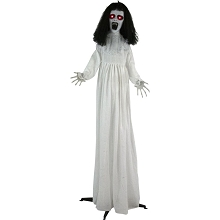 Haunted Hill Farm Life-Size Animatronic Bride, Indoor/Outdoor Halloween Decoration, Flashing Red Eyes, Poseable, Battery-Operated, HHLADY-3FLSA