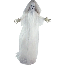 Haunted Hill Farm Life-Size Animatronic Bride, Indoor/Outdoor Halloween Decoration, Flashing Red Eyes, Poseable, Battery-Operated, HHLADY-5FLSA