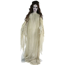 Haunted Hill Farm Life-Size Animatronic Bride, Indoor/Outdoor Halloween Decoration, Light-up Eyes, Poseable, Battery-Operated, HHLADY-6FLS