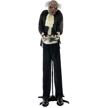 Haunted Hill Farm Life-Size Animated Moaning Butler Prop Holding Silver Tray for Indoor or Outdoor Halloween Decoration, Battery-Operated, HHMAN-1FLSA