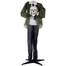 Haunted Hill Farm Life-Size Animated Headless Man Prop Holding Talking Skull for Indoor or Outdoor Halloween Decoration, Battery-Operated, HHMAN-2FLS