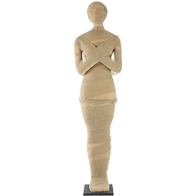 Haunted Hill Farm Life-Size Standing Wrapped Mummy for Indoor or Covered Outdoor Halloween Decoration, HHMUM-1F