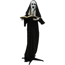 Haunted Hill Farm Life-Size Animatronic Witch, Indoor/Outdoor Halloween Decoration, Flashing Green Eyes, Talking, Battery-Operated, HHNUN-1FLS