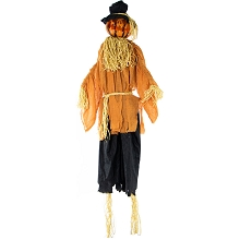 Haunted Hill Farm 6-Ft. Animated Scarecrow Prop w/ Rotating Jack-O-Lantern Head for Indoor or Outdoor Halloween Decoration, Battery-Operated, HHPUM-1FLSA