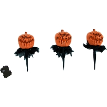 Haunted Hill Farm Lawn Decor Pumpkin Heads, Outdoor Halloween Decoration, Light-Up, Hanging Option, HHPUMP-1STL