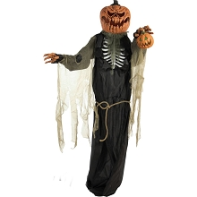 Haunted Hill Farm Life-Size Animatronic Pumpkin Man, Indoor/Outdoor Halloween Decoration, Light-up Colorful Head, Talking, Battery-Operated, HHPUMP-2FLS