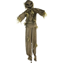 Haunted Hill Farm Life-Size Animatronic Scarecrow, Indoor/Outdoor Halloween Decoration, Light-up Red Face, Poseable, Battery-Operated, HHPUMP-3FLS