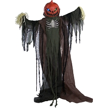 Haunted Hill Farm Life-Size Animatronic Scarecrow, Indoor/Outdoor Halloween Decoration, Flashing Colorful Eyes, Poseable, Battery-Operated, HHPUMP-4FLS