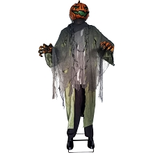 Haunted Hill Farm Life-Size Animatronic Pumpkin Man, Indoor/Outdoor Halloween Decoration, Light-up Colorful Head, Talking, HHPUMP-6FLSA