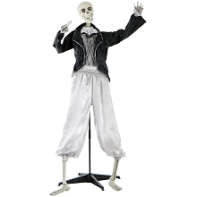 Haunted Hill Farm Life-Size Animated Talking Skeleton Groom Prop w/ Flashing Eyes for Indoor or Outdoor Halloween Decoration, Battery-Operated, HHRPR-1FL