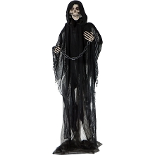 Haunted Hill Farm Life-Size Animated Grim Reaper Prop w/ Chain and Rotating Head for Indoor or Outdoor Halloween Decoration, Battery-Operated, HHRPR-2FLSA