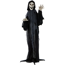 Haunted Hill Farm Life-Size Animated Grim Reaper Prop w/ Flashing Eyes and Ribs for Indoor or Outdoor Halloween Decoration, Battery-Operated, HHRPR-3FLS